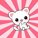 imagen de gato kawaii con colores
