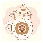 imagen de gato kawaii con taza