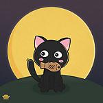 imagen de gato kawaii y pez