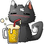 imagen gato kawaii con cerveza